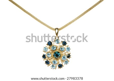 Pendant on chain  isolated on the white - stock photo