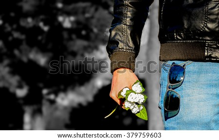 Pending love  bouquets snowdrops spring time - stock photo