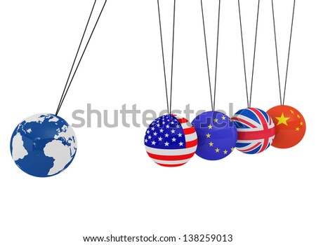 Pendulum of 3D spheres with the flag and globe - symbolizes the impact of the global economy on the country  - stock photo