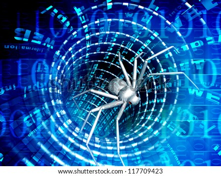 Penetration into a computer of a virus from Internet - stock photo