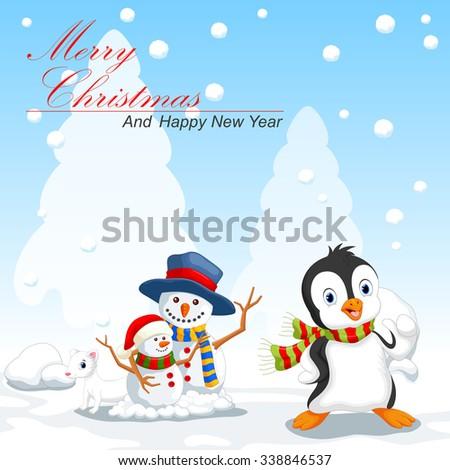 Penguin and snowman cartoon - stock photo