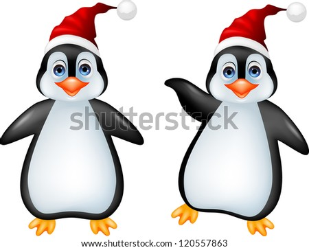 Penguin cartoon - stock photo