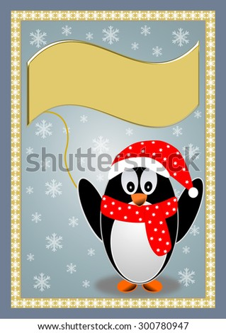 Penguin with a red cap and a red scarf holding a large golden text banner - stock photo