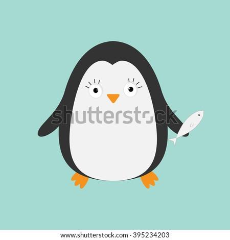 Penguin with fish. Cute cartoon character. Arctic animal collection.  Baby bird. Flat design  - stock photo