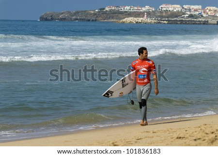 PENICHE, PORTUGAL - OCTOBER 14 : Jordy Smith ( ZAF), participant in Men's Rip Curl Pro Portugal 2010, October 14, 2010 in Peniche, Portugal - stock photo