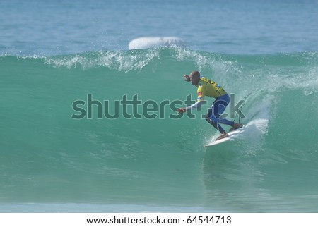 PENICHE, PORTUGAL - OCTOBER 14 : Kelly Slater (USA) Winner in Rip Curl men's Pro Portugal, October 14, 2010 in Peniche, Portugal - stock photo