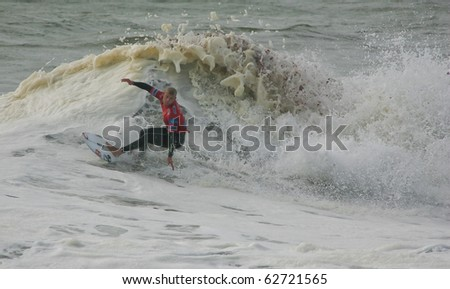 PENICHE, PORTUGAL - OCTOBER 10 : Mick Fanning (AUS) in Rip Curl Pro 2010 round 1 October 10, 2010 in Peniche, Portugal - stock photo