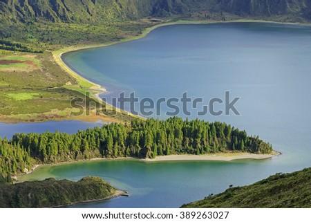 Peninsula on Lagoa do Fogo, San Miguel island of Azores - stock photo