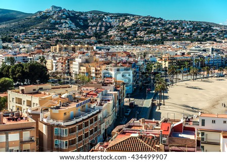 Peniscola city, view from the Castillo del Papa Luna. Costa del Azahar, province of Castellon, Valencian Community. Spain
