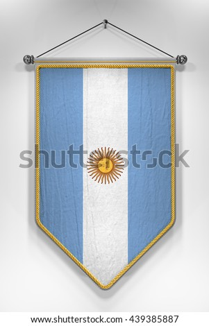 Pennant with Argentinian flag. 3D illustration with highly detailed texture. - stock photo