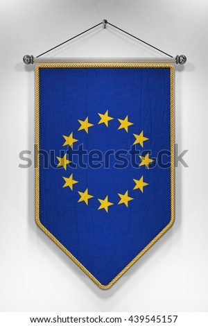 Pennant with European Union flag. 3D illustration with highly detailed texture. - stock photo