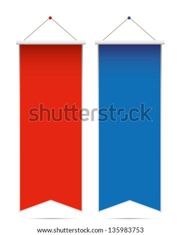 Pennants on white background. - stock photo