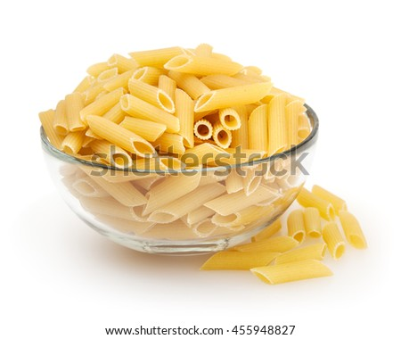 Penne pasta isolated on white background with clipping path - stock photo