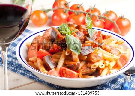 Pennette pasta alla norma Italian Food - stock photo