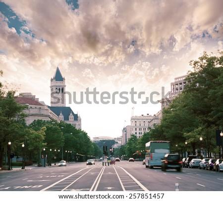 Pennsylvania Avenue sunset in Washington DC USA  filtered - stock photo