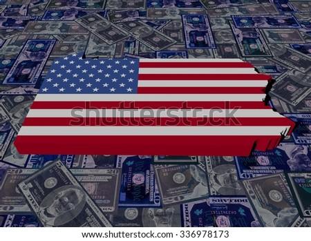 Pennsylvania map flag on dollars illustration - stock photo