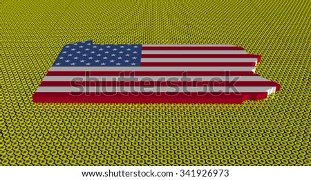Pennsylvania map flag on golden dollars coins illustration - stock photo