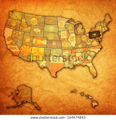pennsylvania on old vintage map of usa with state borders - stock photo