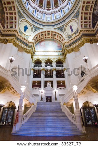 Pennsylvania State Capitol building grand staircase - stock photo