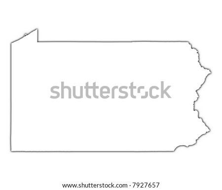 Pennsylvania USA Outline Map With Shadow Detailed