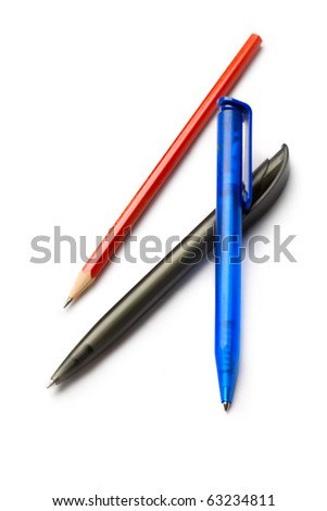 Pens isolated on white - stock photo