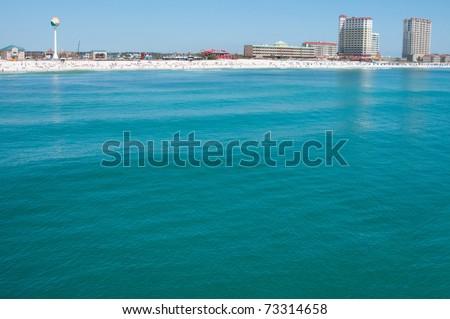 Pensacola Beach as viewed by the ocean - stock photo