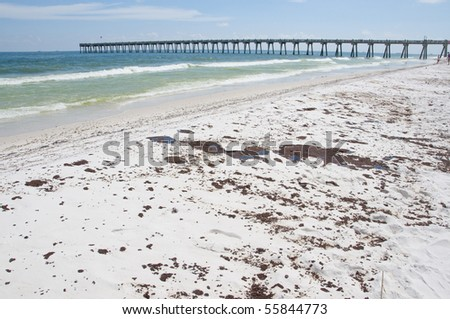 PENSACOLA BEACH - JUNE 23:  Oil covered sand is shown on June 23, 2010 in Pensacola Beach, FL. - stock photo