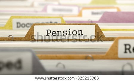 Pension Concept on File Label in Multicolor Card Index. Closeup View. Selective Focus.  - stock photo
