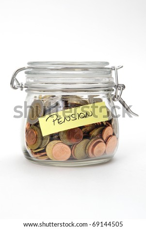 Pension, Euro coins in a glass jar on white background - stock photo
