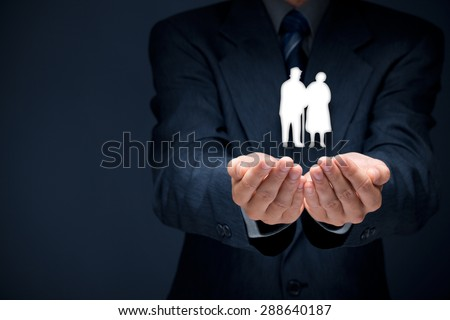 Pension insurance, senior business, life insurance and support seniors concepts.