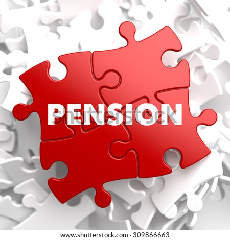 Pension on Red Puzzle on White Background. - stock photo