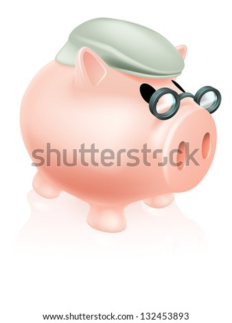 Pension pig money box concept of a a savings piggy bank money box dressed in senior's hat and specs. - stock photo