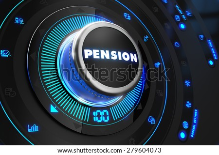Pension Regulator on Black Control Console with Blue Backlight. Improvement, regulation, control or management concept. - stock photo