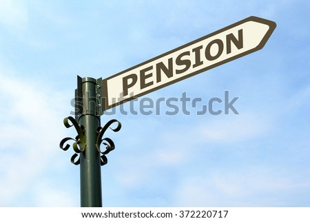 PENSION WORD ON ROADSIGN - stock photo