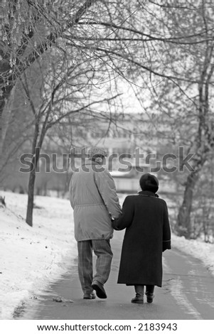 Pensioners loving each other walk on winter park - stock photo