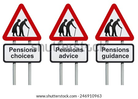 Pensions choices, advice, guidance road sign                          - stock photo