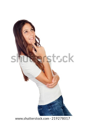 Pensive attractive girl isolated on a white background - stock photo