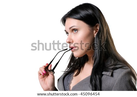 Pensive beautiful woman with glasses in their hands. - stock photo