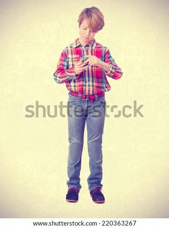 Pensive boy solving a problem - stock photo
