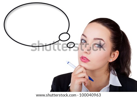 Pensive business woman looking up, isolated on white background.  Speech bubble at the top of the photo for your text - stock photo