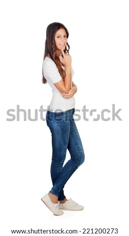 Pensive casual girl with jeans isolated on a white background - stock photo