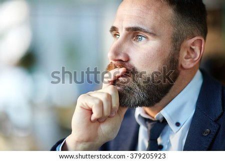 Pensive entrepreneur - stock photo