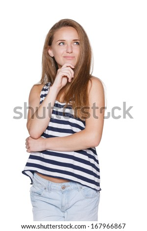 Pensive girl teenager hipster with chin on hand looking to the side contemplating, over white background - stock photo