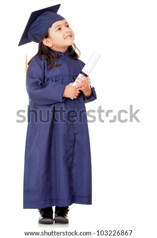 Pensive graduate girl - isolated over a white background - stock photo