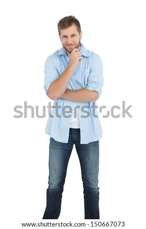 Pensive handsome man on white background - stock photo