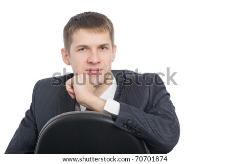 Pensive handsome young businessman. Isolated on white. - stock photo