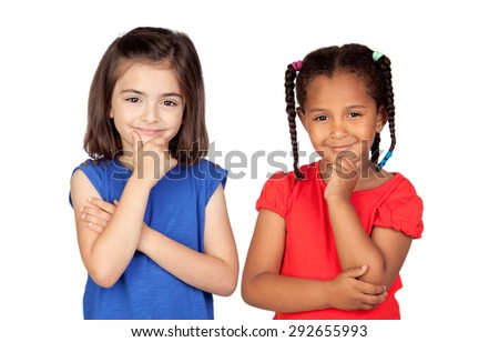 Pensive little girls thinking isolated on a white background - stock photo