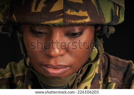 Pensive Military Woman  - stock photo