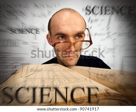 Pensive scientific mathematician with open book looking through time - stock photo