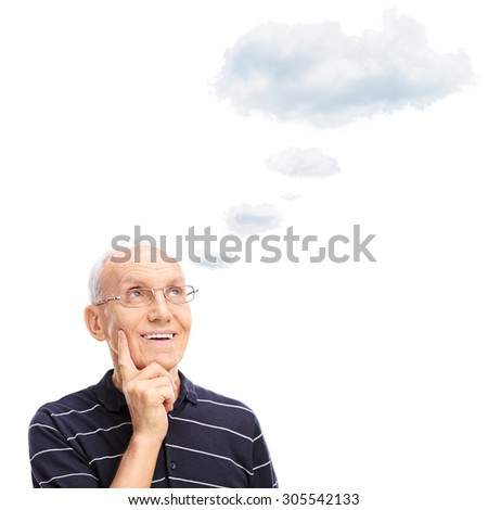 Pensive senior gentleman thinking about something with a cloud floating over his head isolated on white background - stock photo